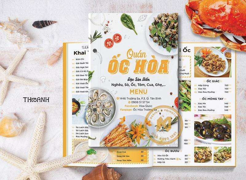 Mẫu menu cho quán ốc nổi tiếng