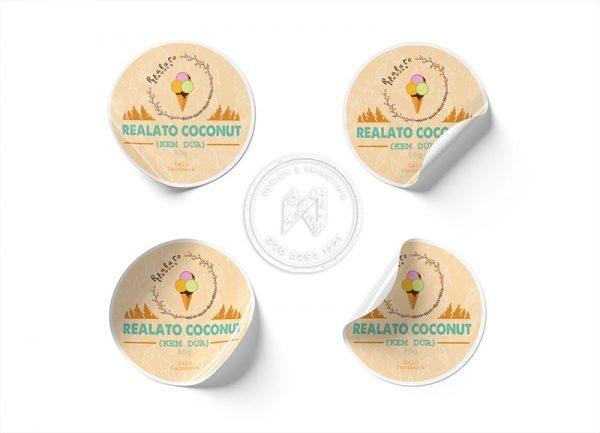Tem dán sticker cho kem dừa