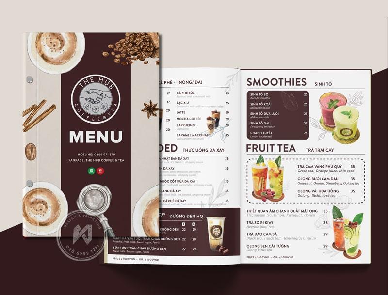 Mẫu thiết kế menu cho quán cà phê đẹp hết chỗ chê