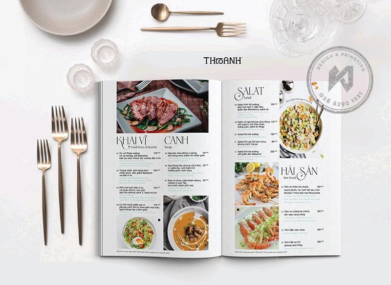 Thiết kế menu nhà hàng Á Âu kết hợp (Francis Hội Restaurant)