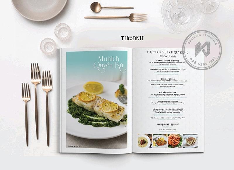 Mẫu thực đơaThiết kế menu phong cách Châu Âun nhà hàng Âu Á đơn giản tinh tế
