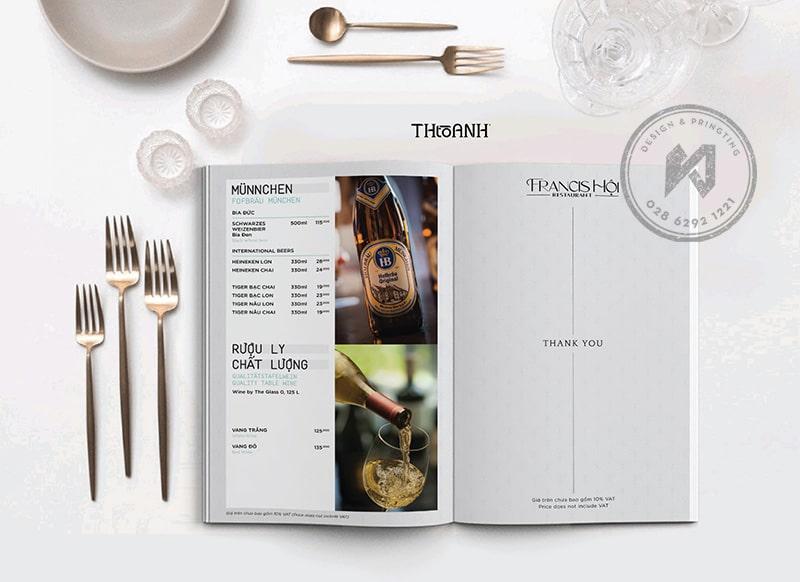 Mẫu thiết kế menu nhà hàng Âu tinh tế trong sự đơn giản