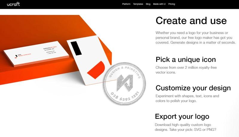 Ucraft công cụ làm logo miễn phí