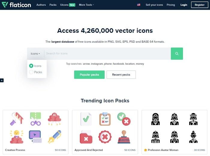 Flaticon địa chỉ cung cấp icons & vector miễn phí