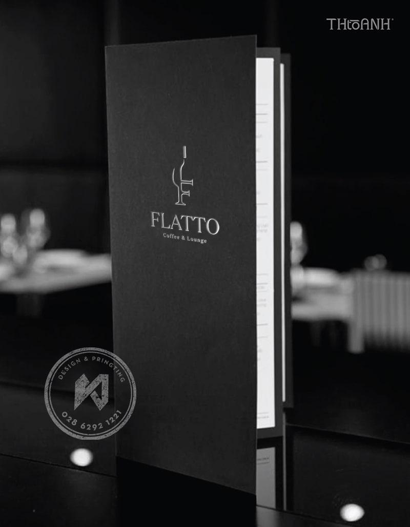 Phần bìa của menu rượu Flatto