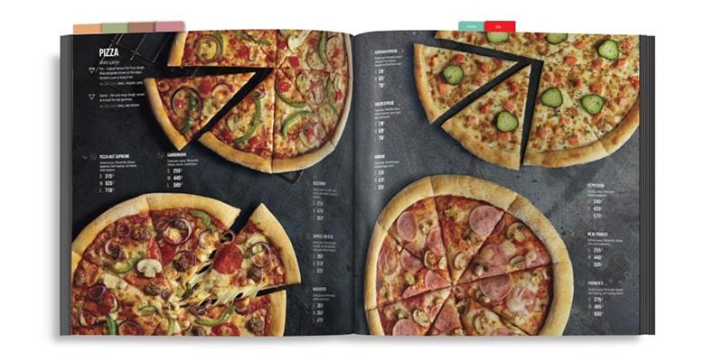 Pizza menu - thiết kế dạng bảng phấn