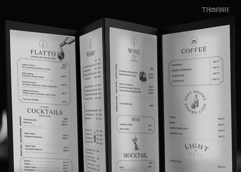 Thiết kế menu cho nhà hàng Flatto sang trọng