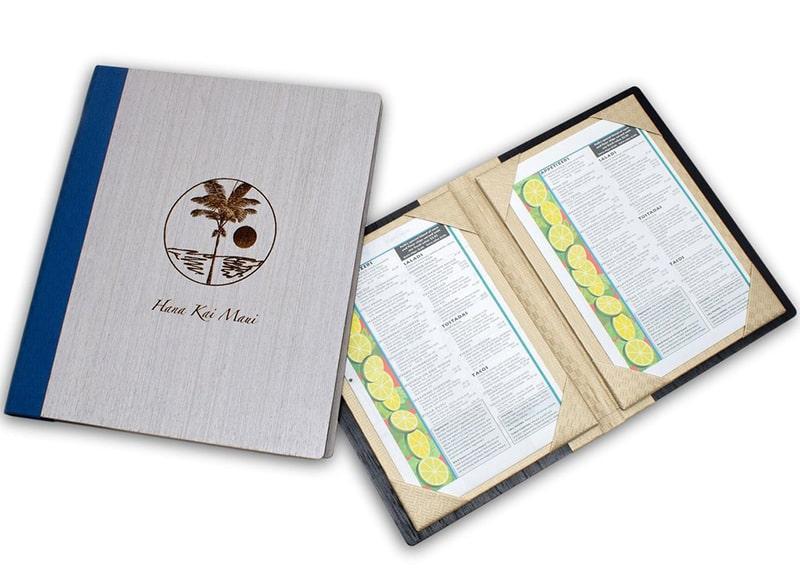 Bìa menu gỗ cover có tay gấp