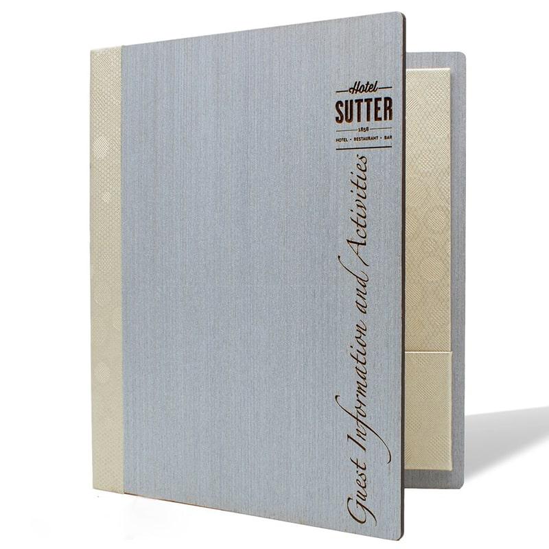 Bìa menu gỗ khắc laser kèm tay gấp