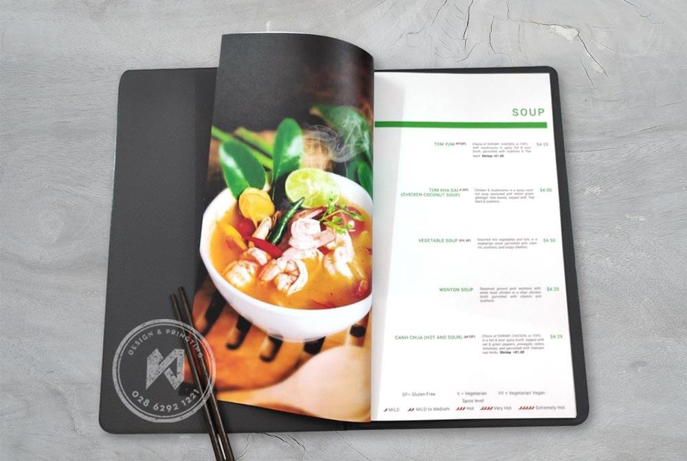 Ruột menu nhà hàng Saigon Bangkok được in bằng giấy mỏng