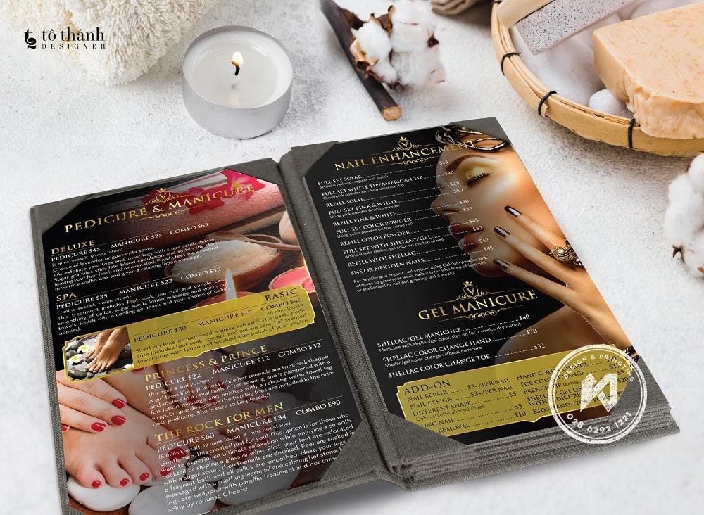 In menu vải đẹp cho Nail Spa