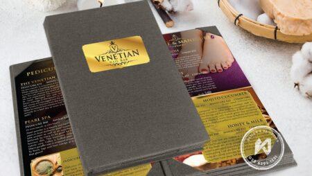Menu vải Linen thương hiệu Venetian Nail Bar nổi tiếng
