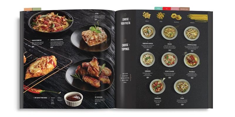 Mẫu thiết kế menu nước ngoài có tag phân mục