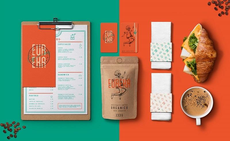 Mẫu thiết kế nhận diện cà phê đơn giản