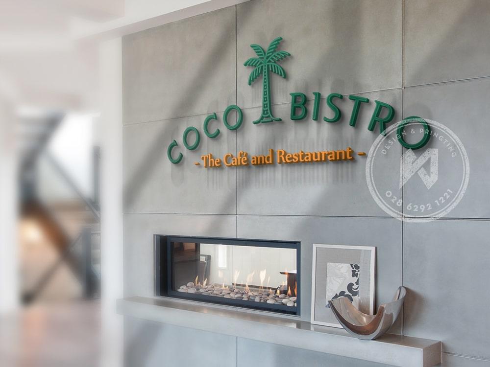 Một bảng phối cảnh logo CoCo Bistro chữ nổi