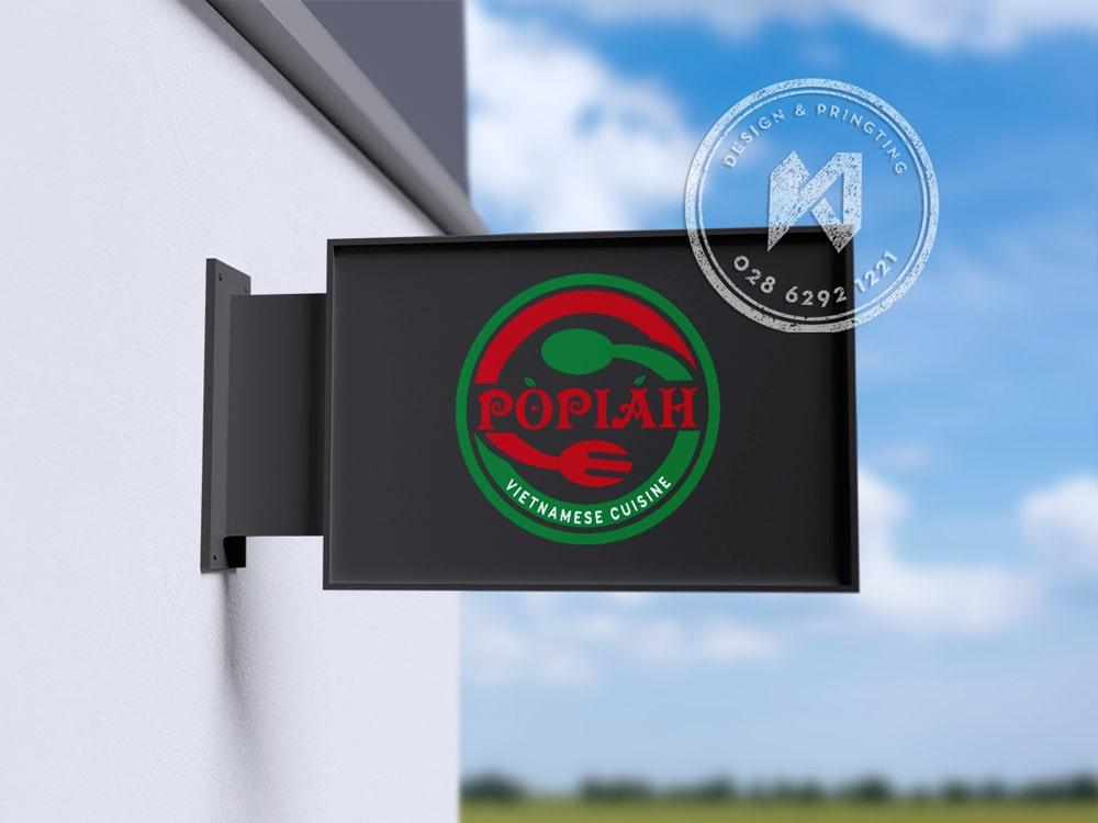 Thiết kế bảng hiệu nhà hàng với logo đơn giản