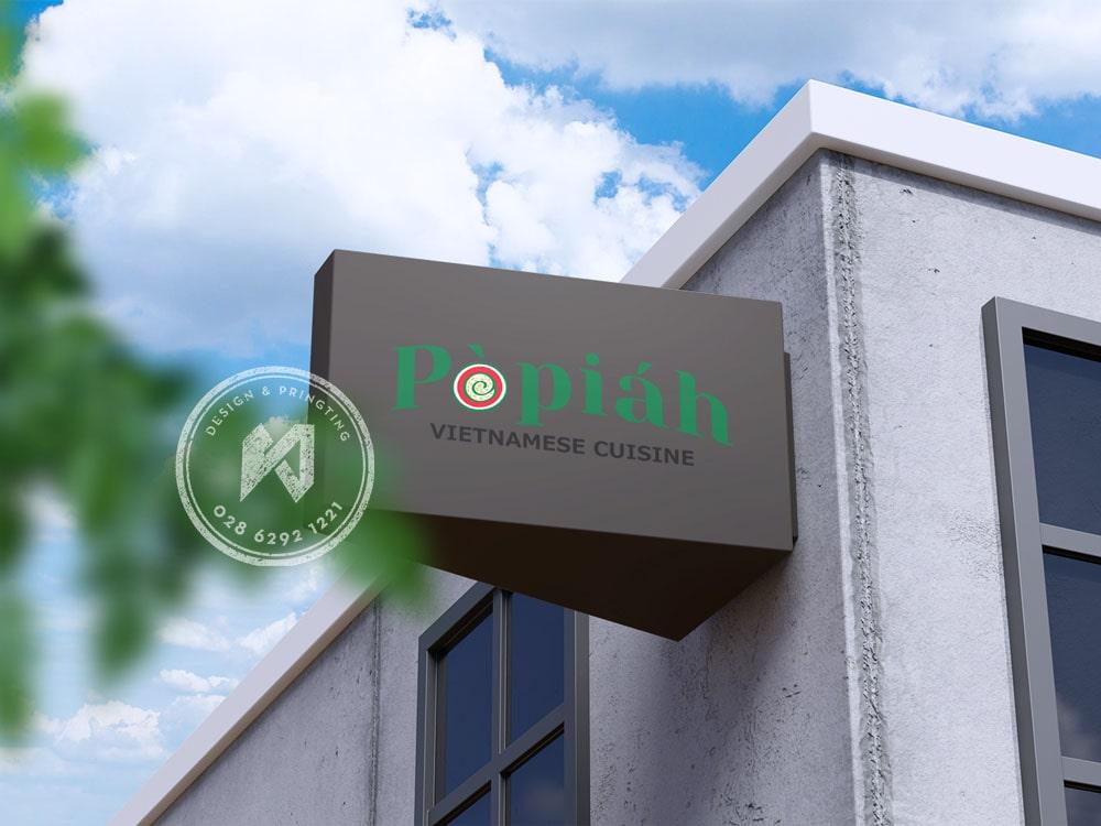 Bảng phối cảnh logo nhà hàng lên bảng hiệu