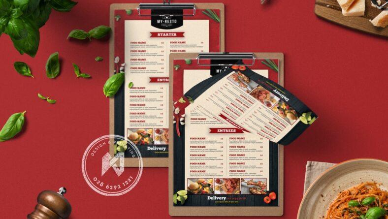 Mẫu menu quán ăn đơn giản