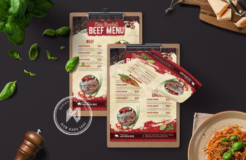 Template thiết kế menu quán ăn