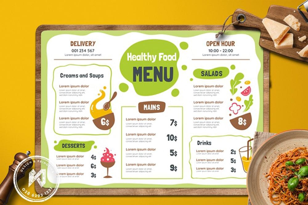 Bảng menu A3 cho quán ăn healthy