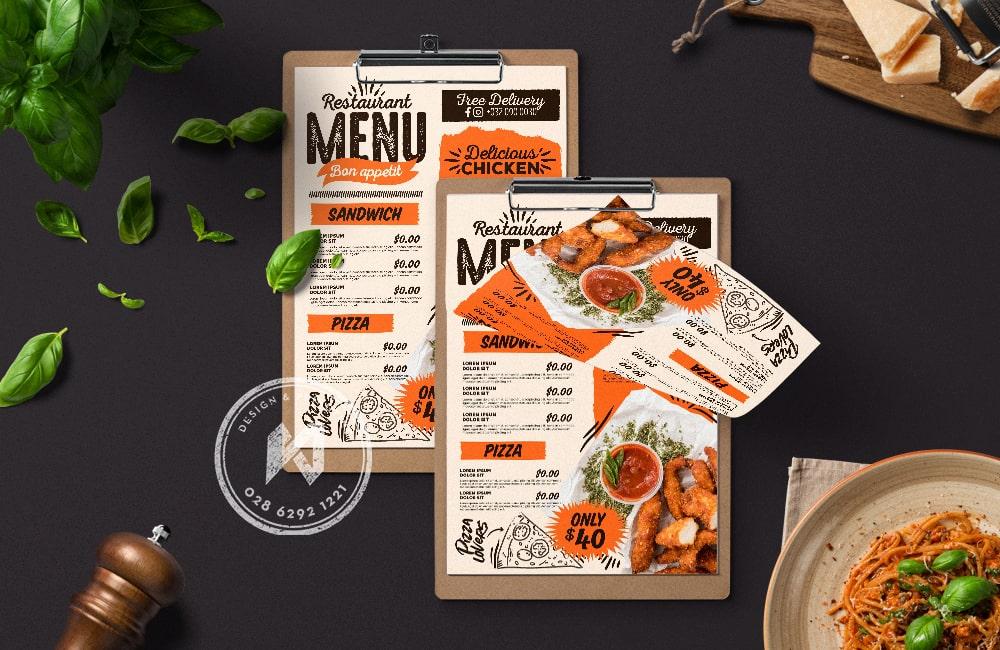 Mẫu thiết kế menu quán ăn đẹp