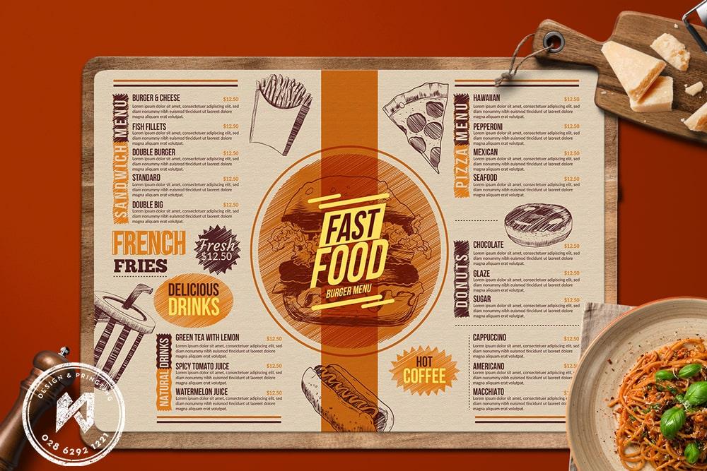 Thiết kế menu quán ăn khổ A3 ngang