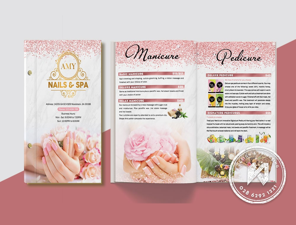 Bộ thiết kế menu AMY Nail Spa