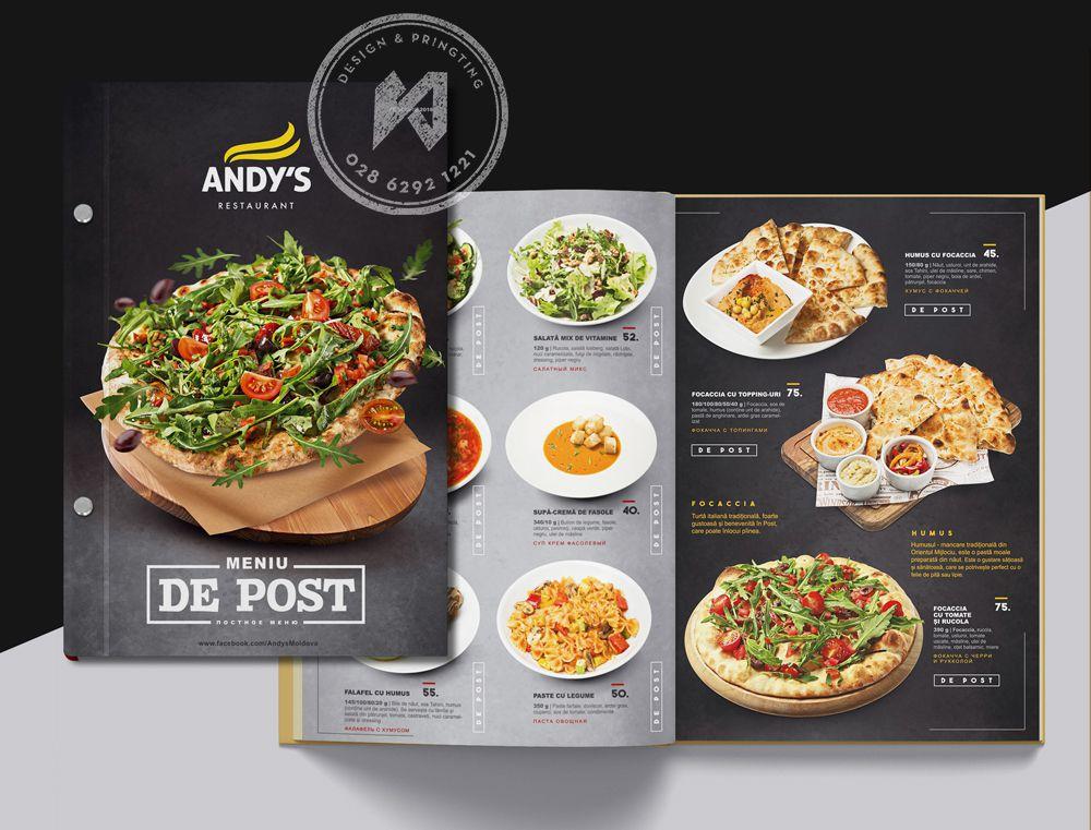 Thiết kế menu nhà hàng Pizza & Salad