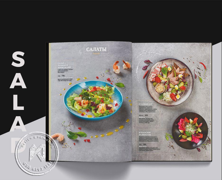 Mẫu thiết kế menu Salad cho nhà hàng danh tiếng