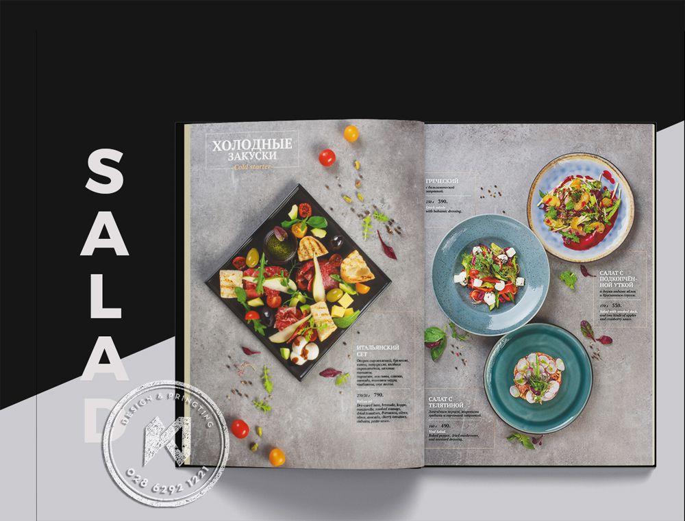 Mẫu menu salad trong thực đơn nhà hàng