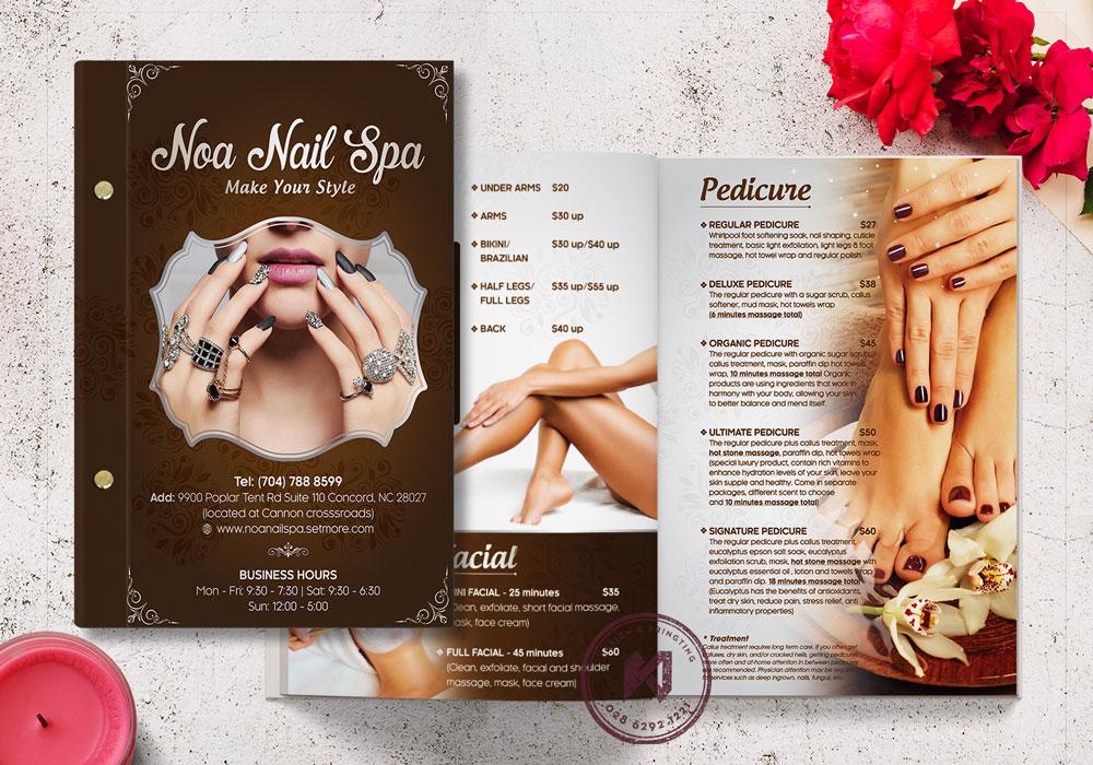 Thiết kế menu dịch vụ Nail Spa Beauty ấn tượng