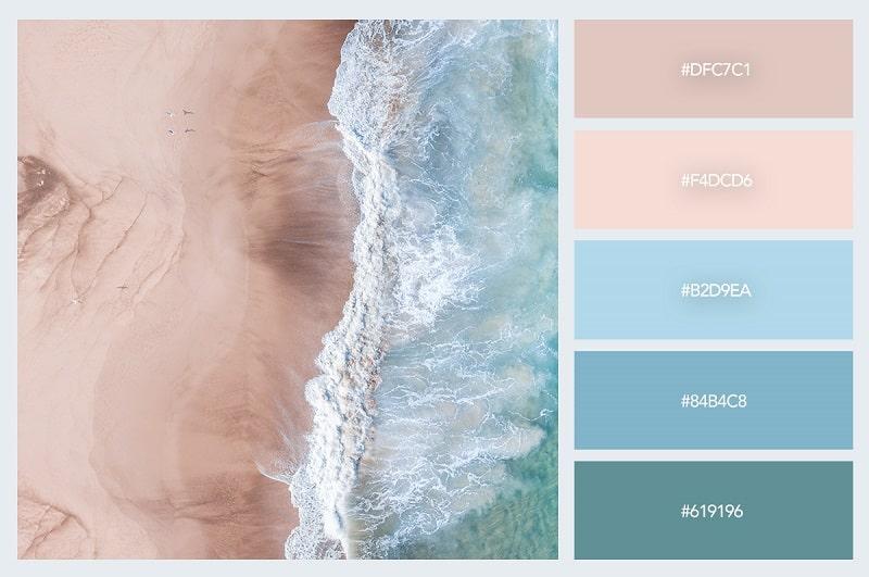 Bảng phối màu pastel với cảm hứng từ biển cả