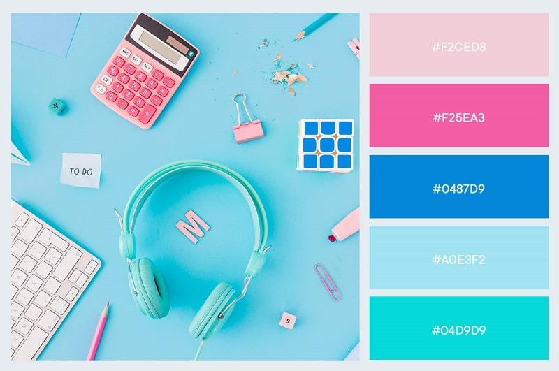 Phối màu hồng pastel & xanh pastel ấn tượng