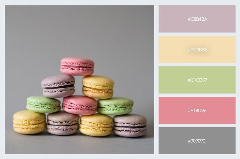 Cảm hứng phối màu pastel từ menu bánh ngọt