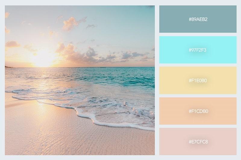 Thiết kế tuyệt đẹp với bảng màu pastel bình minh trên biển