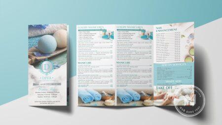 Thiết kế menu Diva Nails Spa Lounge xanh pastel dịu mát