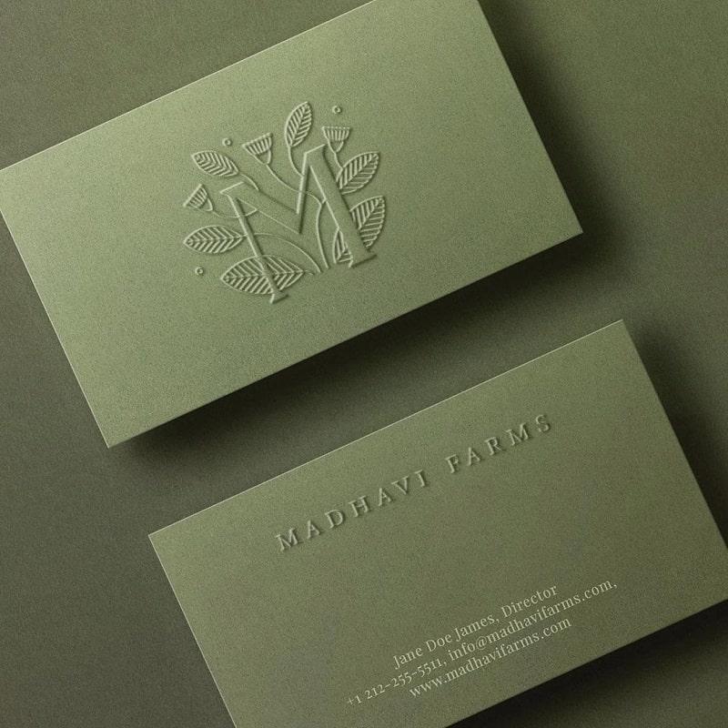 Letterpress vs. Embossing 2 phương pháp in card visit dập nổi sang trọng