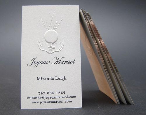 Letterpress vs. Embossing 2 phương pháp in card visit dập nổi đặc sắc