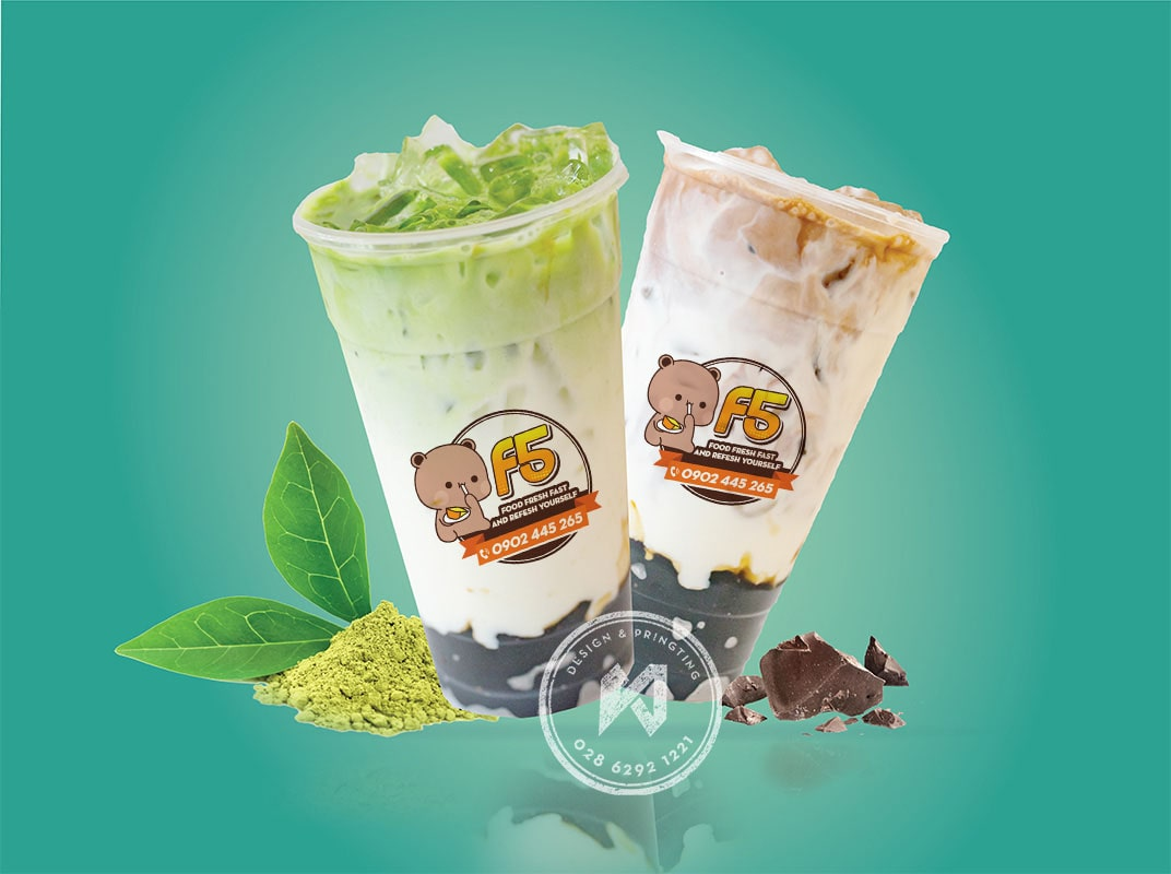 Fresh F5 logo dán ly trà sữa