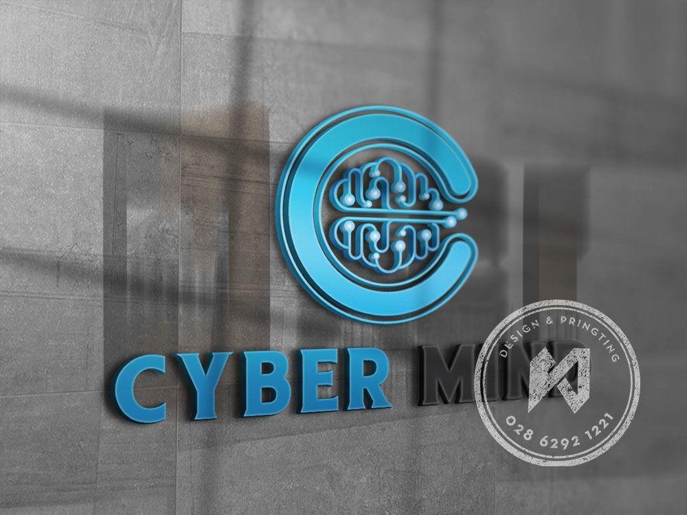 Bảng mockup 3D cho công ty Cyber Mind
