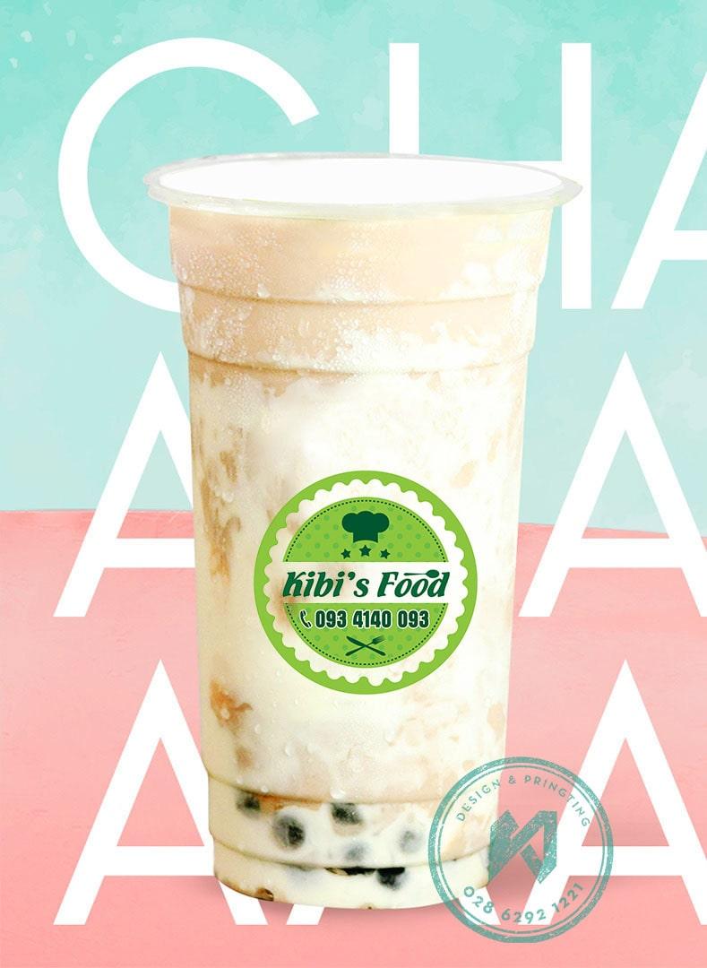KIBI FOOD - nhãn dán ly trà sữa, cafe