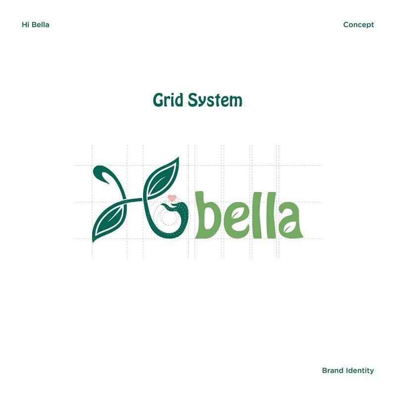 Grid System logo thương hiệu shop Hi bella
