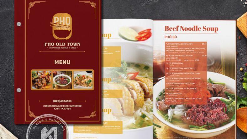 Mẫu thiết kế menu Phở Old Town