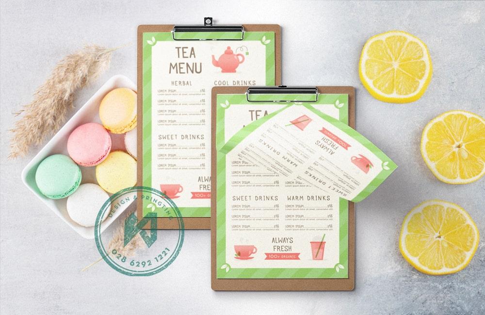 Thiết kế menu quán nước, quán trà và quán cafe đẹp