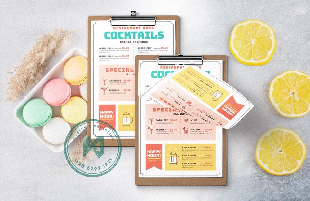 Thiết kế menu đẹp nhẹ nhàng với bảng phối màu pastel