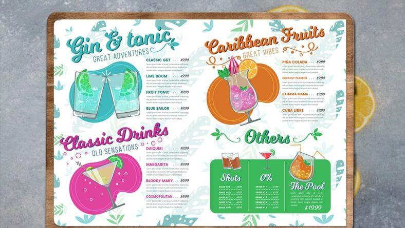 Bảng thiết kế menu quán nước A4 tuyệt đẹp