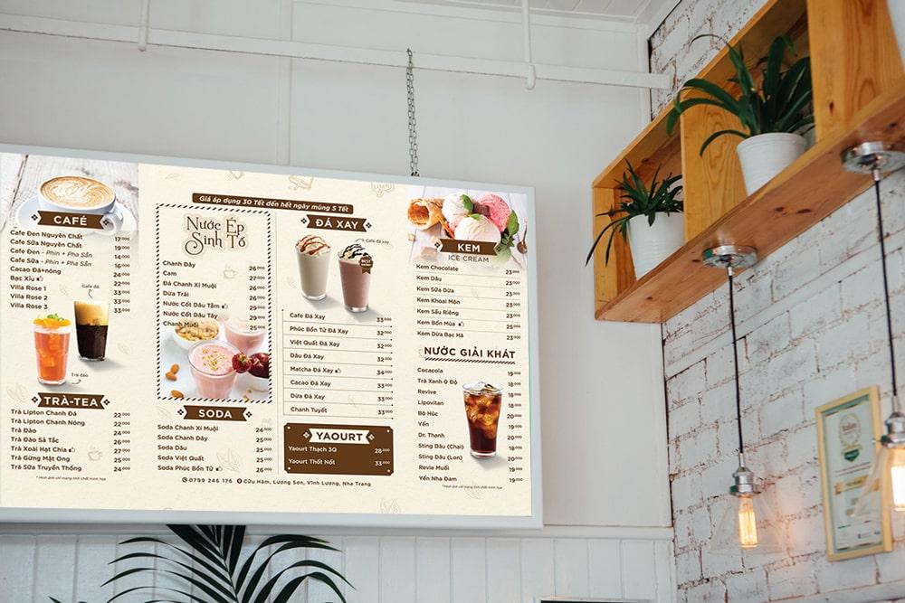 Mẫu menu bảng cho quán cafe