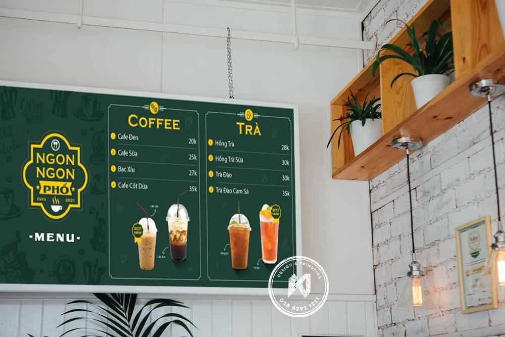Mẫu menu quán cafe dạng bảng