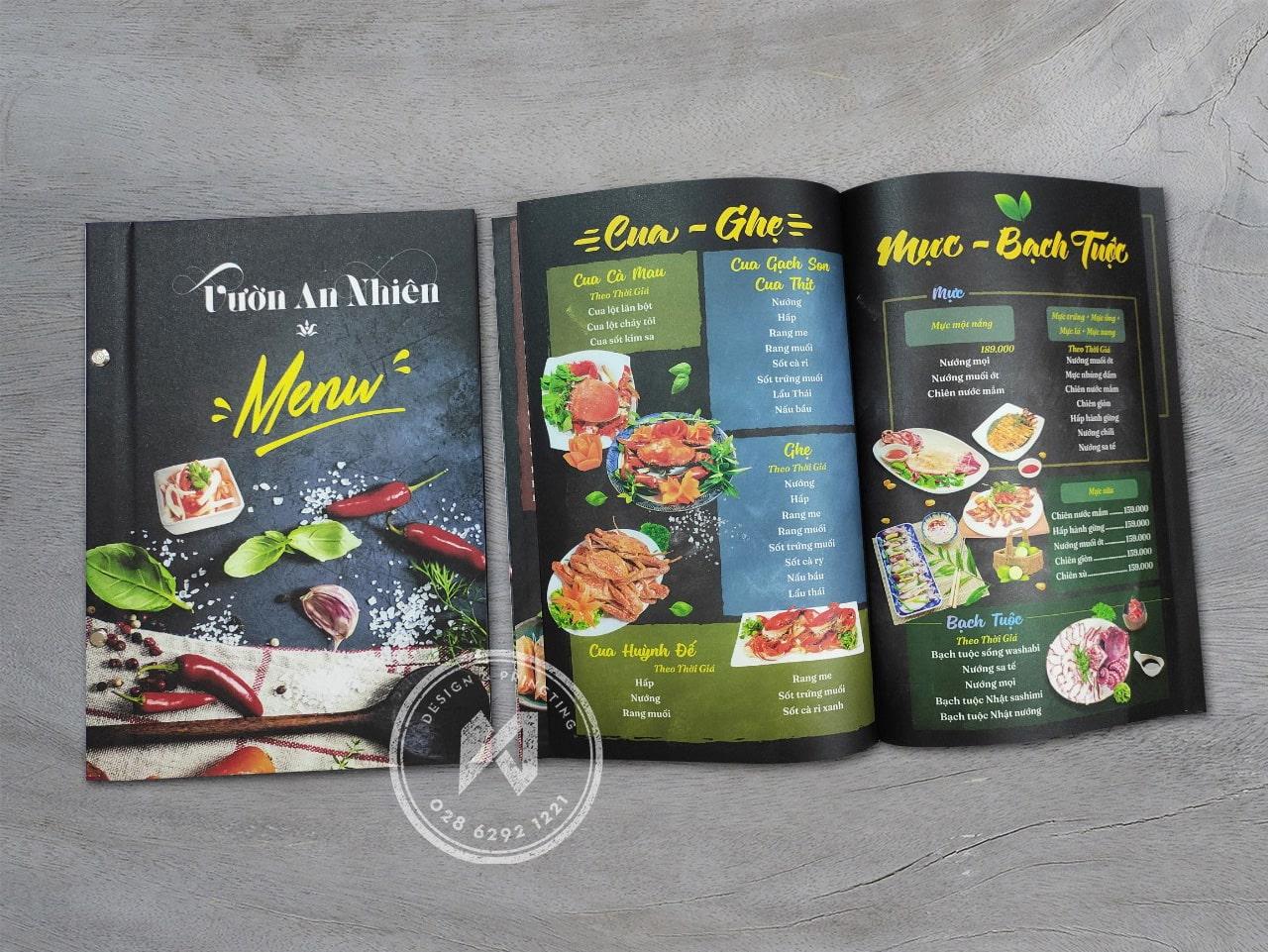In menu Vườn An Nhiên - Menu bìa cứng