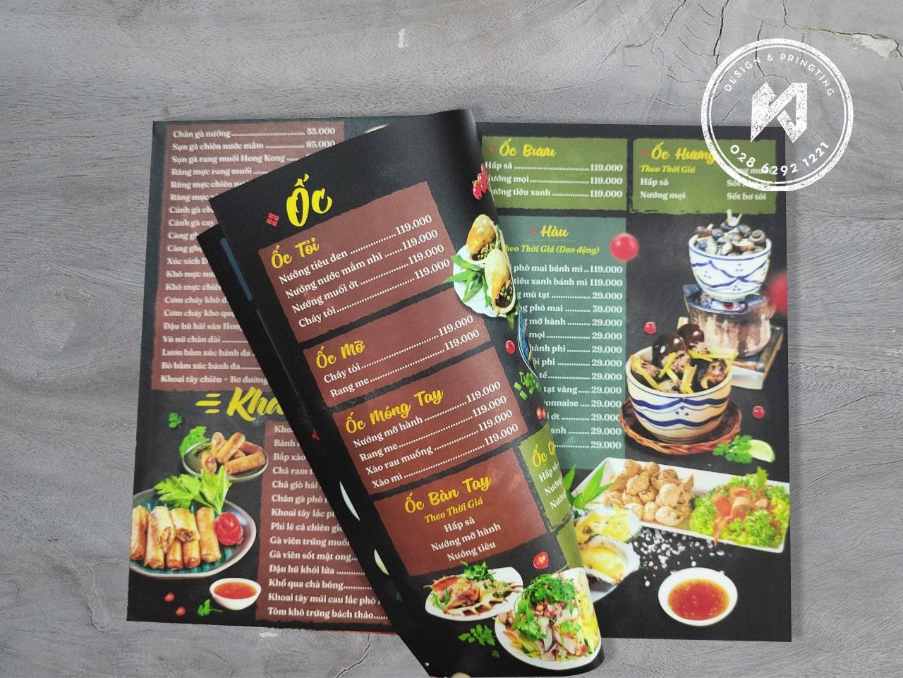 In menu nhà hàng Vườn An Nhiên